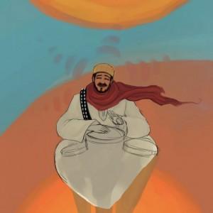 Une esquisse d'affiche pour l'artiste musicien Mustapha Mahdaoui